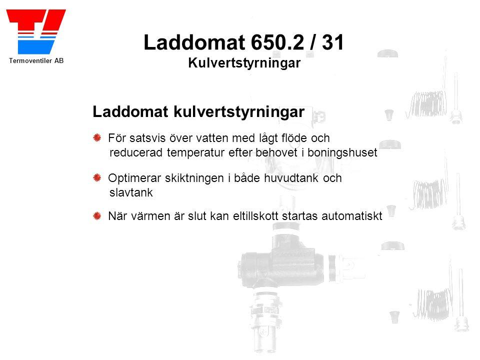 Termoventiler AB Laddomat 650.2 / 31 Kulvertstyrningar Fördelar med kulvertstyrning Perfekt skiktning i både huvud- och slavtank tack vare lågt vattenflöde Låg returtemperatur till huvudtank ger hög ackumulatorkapacitet Automatisk start av reservvärme när huvudtanken är tömd Automatiskt stopp av laddningspumpen garanterar att reservvärmen inte värmer huvudtanken Låg kulverttemperatur ger låga kulvert-förluster, och möjliggör val av de billigare PEX-rören