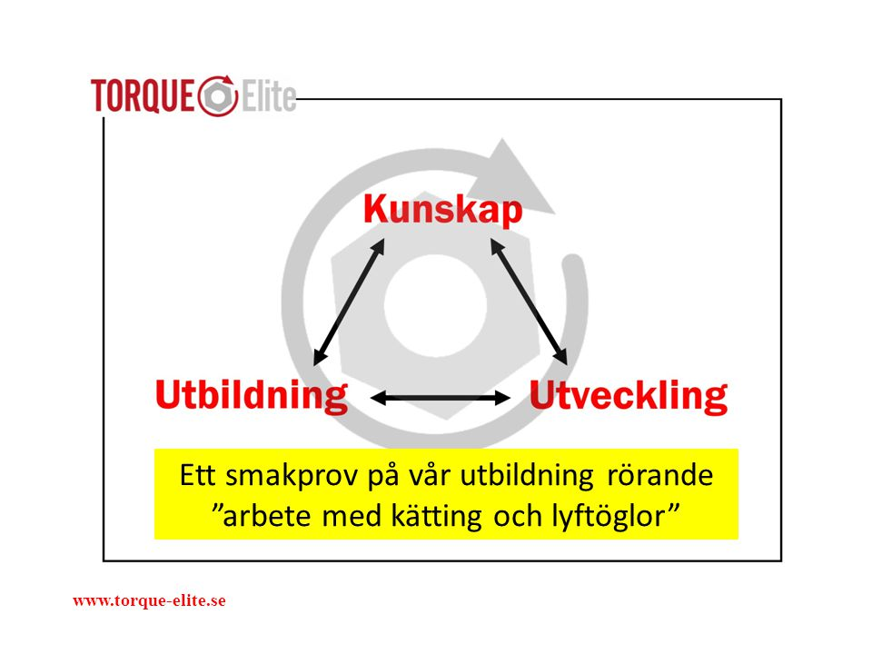 """Ett smakprov på vår utbildning rörande """"arbete med kätting och lyftöglor"""" www.torque-elite.se"""