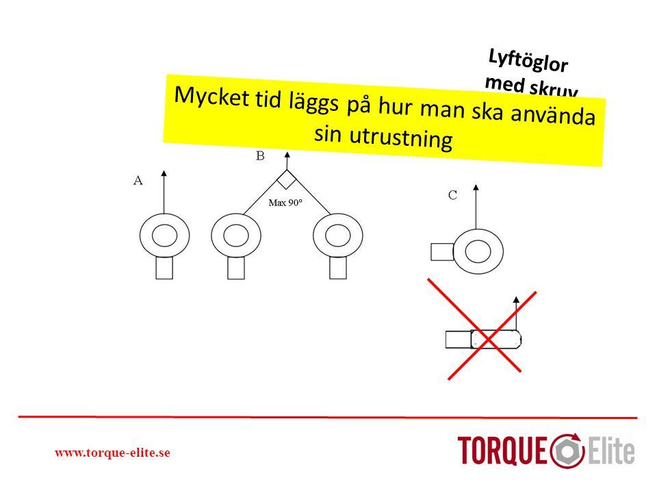 Lyftöglor med skruv Så kan jag lyfta www.torque-elite.se Mycket tid läggs på hur man ska använda sin utrustning