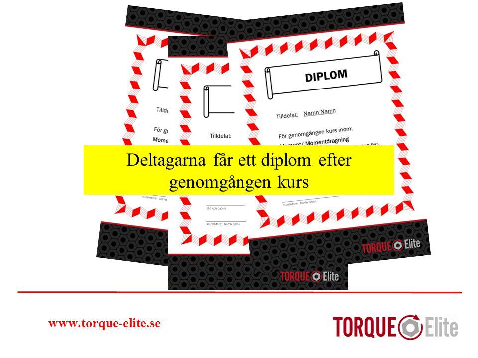 www.torque-elite.se Det var ett smakprov på vår utbildning: Arbete med kätting och lyftöglor Personal som får utbildning känner sig oftast mer motiverad och bidrar därmed till ett bättre arbetsklimat och utför ett bättre arbete.