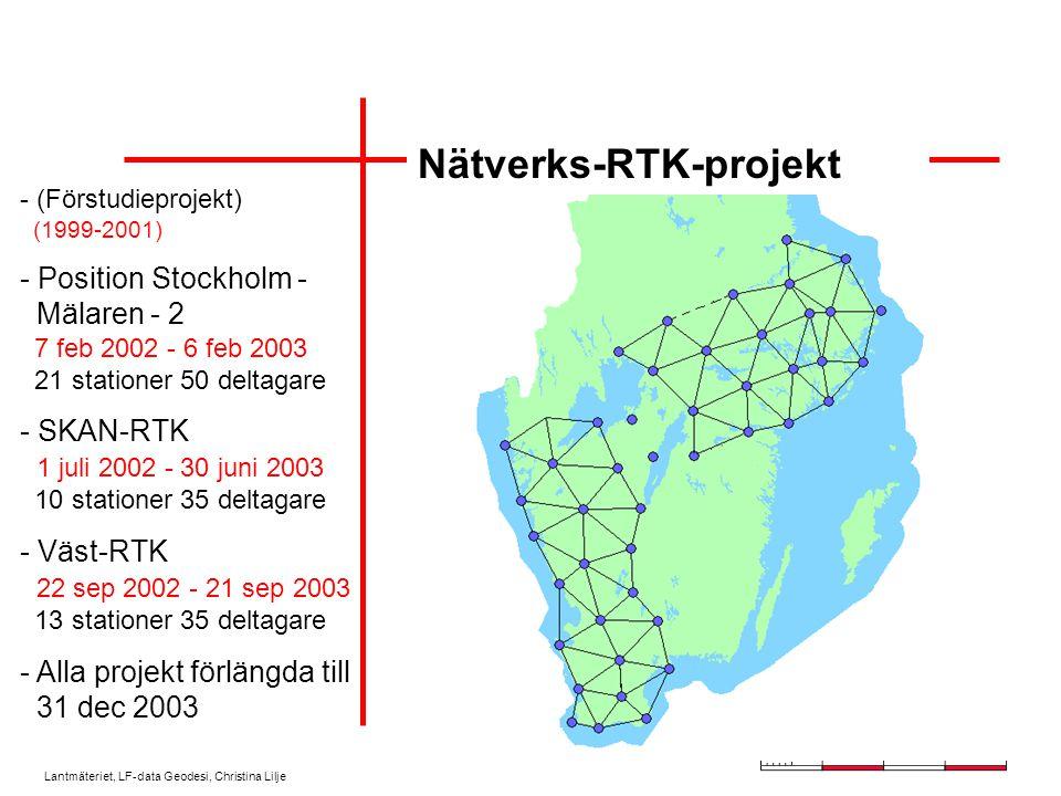 Lantmäteriet, LF-data Geodesi, Christina Lilje Nätverks-RTK-projekt - (Förstudieprojekt) (1999-2001) - Position Stockholm - Mälaren - 2 7 feb 2002 - 6 feb 2003 21 stationer 50 deltagare - SKAN-RTK 1 juli 2002 - 30 juni 2003 10 stationer 35 deltagare - Väst-RTK 22 sep 2002 - 21 sep 2003 13 stationer 35 deltagare - Alla projekt förlängda till 31 dec 2003