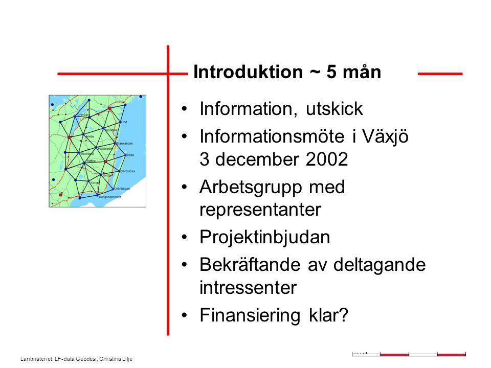 Lantmäteriet, LF-data Geodesi, Christina Lilje Introduktion ~ 5 mån Information, utskick Informationsmöte i Växjö 3 december 2002 Arbetsgrupp med representanter Projektinbjudan Bekräftande av deltagande intressenter Finansiering klar?