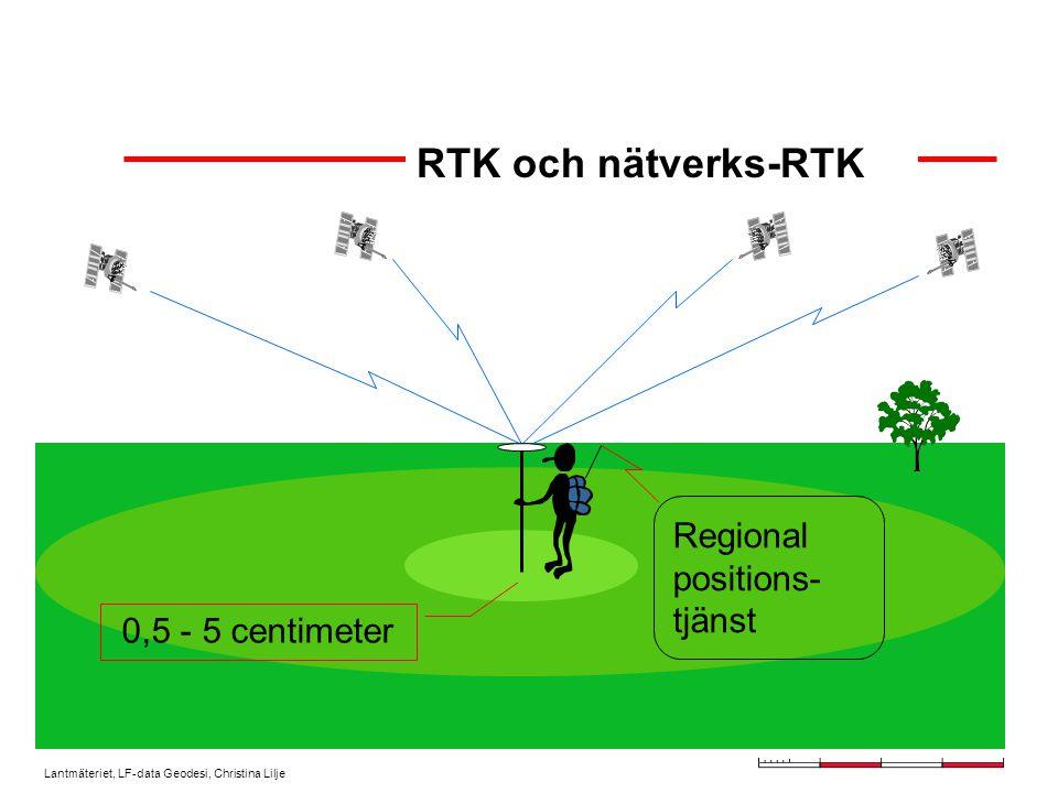 Lantmäteriet, LF-data Geodesi, Christina Lilje Behöver bara en avancerad GPS-utrustning för att utföra detaljmätning med cm- noggrannhet Egen referensstation behöver ej etableras innan mätning kan påbörjas = tids- och kostnadsbesparande Sömlöst täckningsområde för användaren Minskat stomnätsunderhåll Större avstånd mellan referensstationerna Möjlighet till kontinuerlig kvalitetskontroll av utsända data Varför nätverks-RTK?