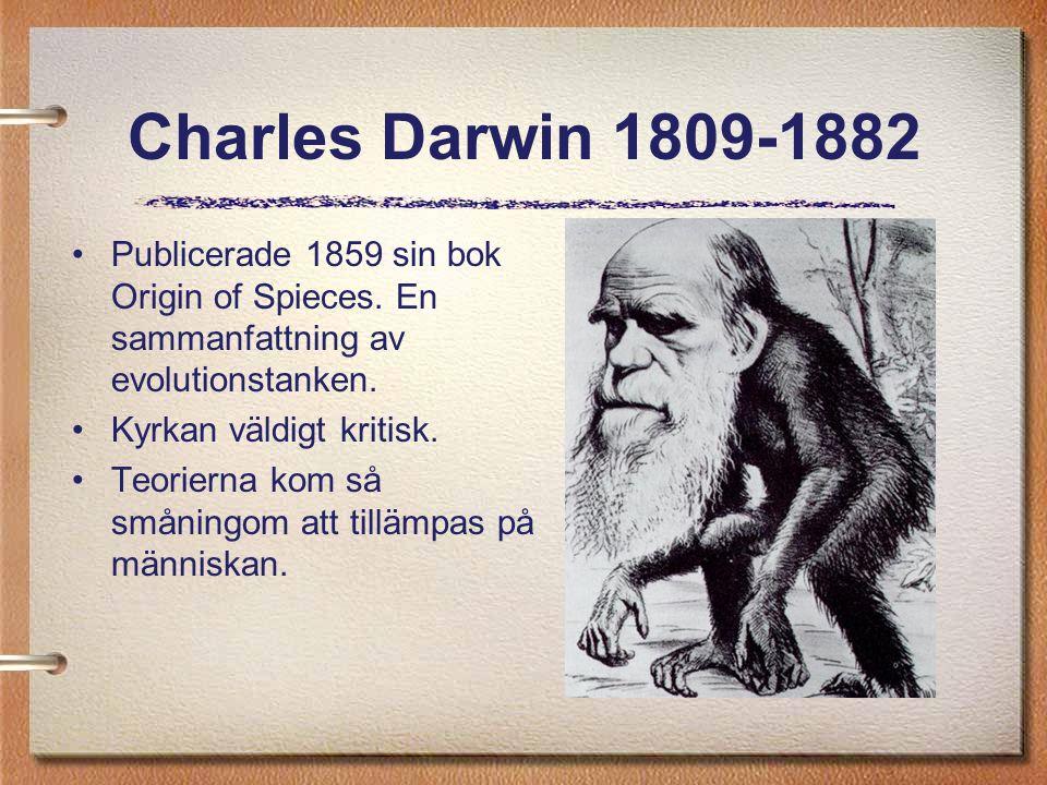 Charles Darwin 1809-1882 Publicerade 1859 sin bok Origin of Spieces. En sammanfattning av evolutionstanken. Kyrkan väldigt kritisk. Teorierna kom så s