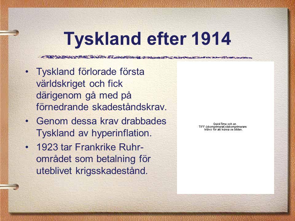 Tyskland efter 1914 Tyskland förlorade första världskriget och fick därigenom gå med på förnedrande skadeståndskrav. Genom dessa krav drabbades Tyskla