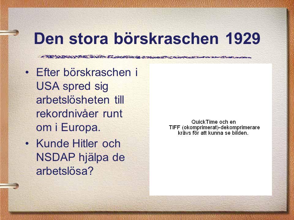 Den stora börskraschen 1929 Efter börskraschen i USA spred sig arbetslösheten till rekordnivåer runt om i Europa. Kunde Hitler och NSDAP hjälpa de arb