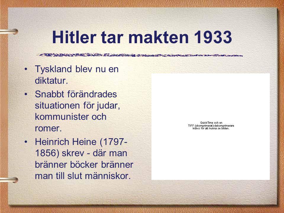 Hitler tar makten 1933 Tyskland blev nu en diktatur. Snabbt förändrades situationen för judar, kommunister och romer. Heinrich Heine (1797- 1856) skre