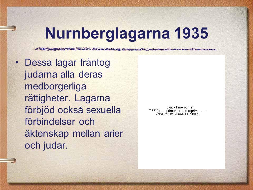 Nurnberglagarna 1935 Dessa lagar fråntog judarna alla deras medborgerliga rättigheter. Lagarna förbjöd också sexuella förbindelser och äktenskap mella
