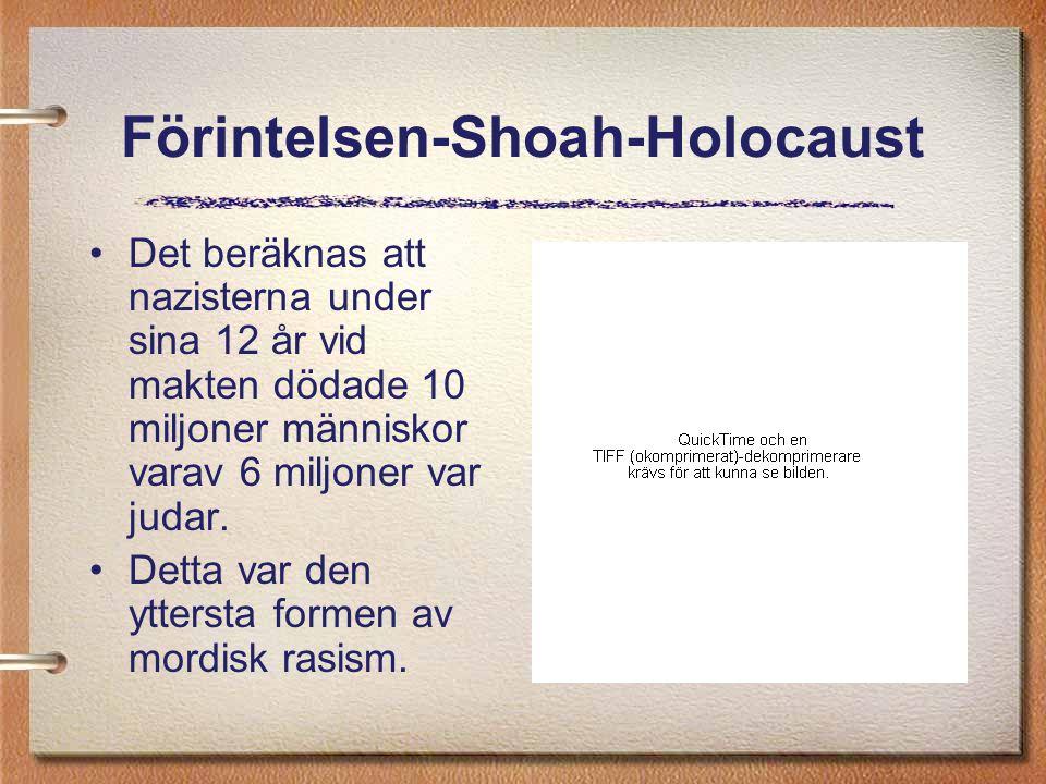 Förintelsen-Shoah-Holocaust Det beräknas att nazisterna under sina 12 år vid makten dödade 10 miljoner människor varav 6 miljoner var judar. Detta var