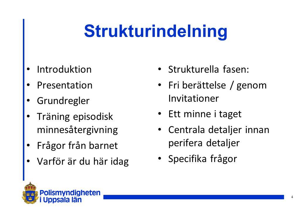 4 Strukturindelning Introduktion Presentation Grundregler Träning episodisk minnesåtergivning Frågor från barnet Varför är du här idag Strukturella fa