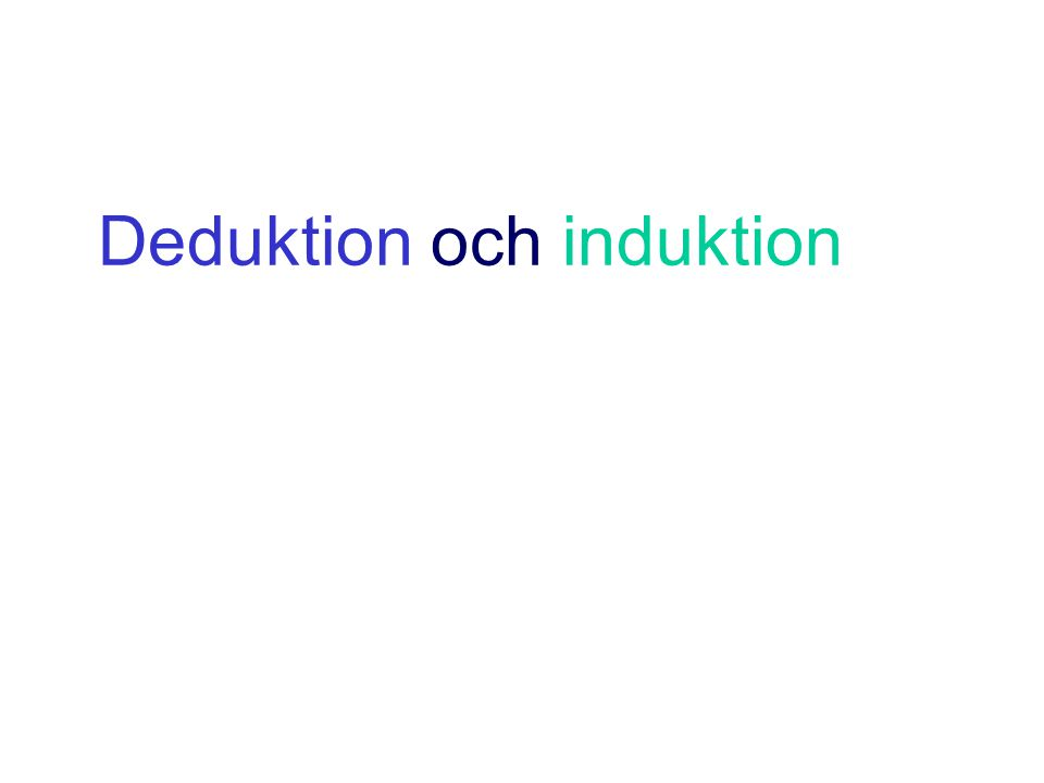 Deduktion och induktion