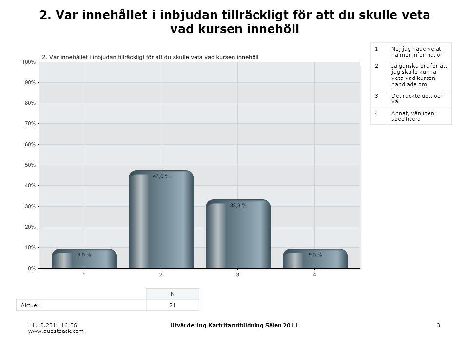 11.10.2011 16:56 www.questback.com Utvärdering Kartritarutbildning Sälen 20113 2.