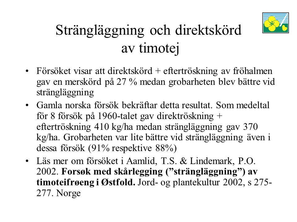 Strängläggning och direktskörd av timotej Försöket visar att direktskörd + eftertröskning av fröhalmen gav en merskörd på 27 % medan grobarheten blev bättre vid strängläggning Gamla norska försök bekräftar detta resultat.