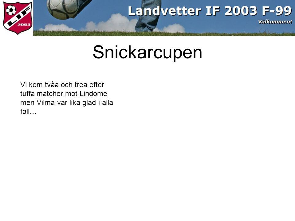 Vi kom tvåa och trea efter tuffa matcher mot Lindome men Vilma var lika glad i alla fall… Snickarcupen
