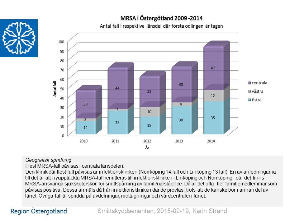 Region Östergötland Geografisk spridning Flest MRSA-fall påvisas i centrala länsdelen. Den klinik där flest fall påvisas är infektionskliniken (Norrkö