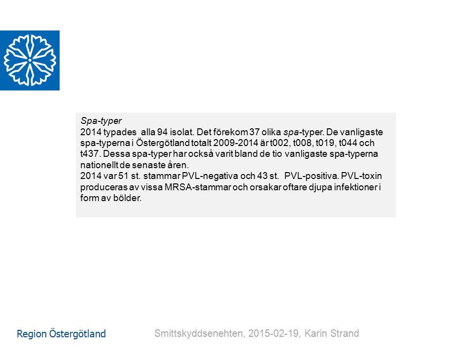 Region Östergötland Spa-typer 2014 typades alla 94 isolat. Det förekom 37 olika spa-typer. De vanligaste spa-typerna i Östergötland totalt 2009-2014 ä