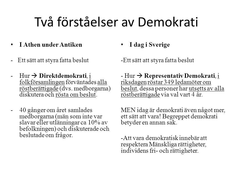 Två förståelser av Demokrati I Athen under Antiken - Ett sätt att styra fatta beslut -Hur  Direktdemokrati, i folkförsamlingen förväntades alla röstberättigade (dvs.