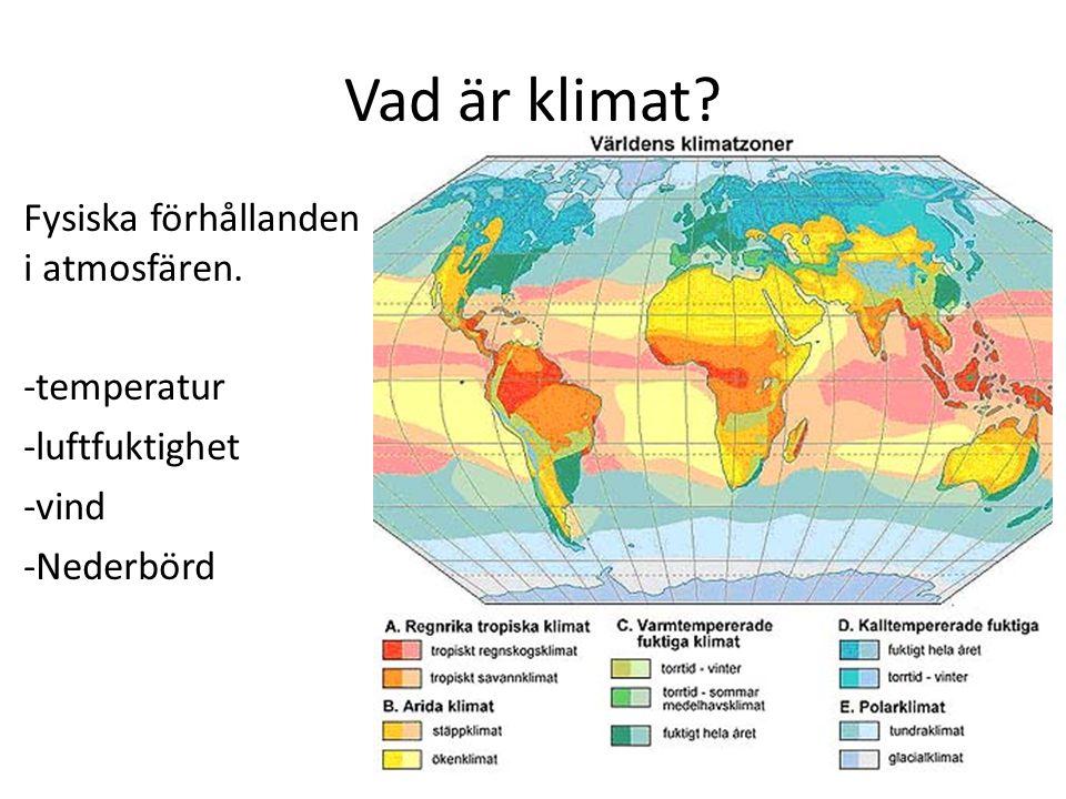 Vad är klimat? Fysiska förhållanden i atmosfären. -temperatur -luftfuktighet -vind -Nederbörd