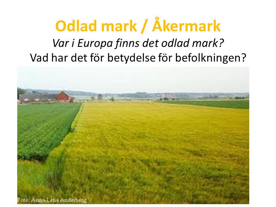 Odlad mark / Åkermark Var i Europa finns det odlad mark.