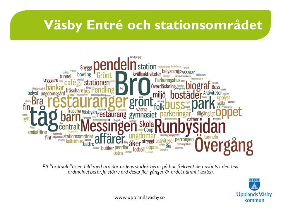 www.upplandsvasby.se Väsby Entré och stationsområdet Ett ordmoln är en bild med ord där ordens storlek beror på hur frekvent de använts i den text ordmolnet berör, ju större ord desto fler gånger är ordet nämnt i texten.