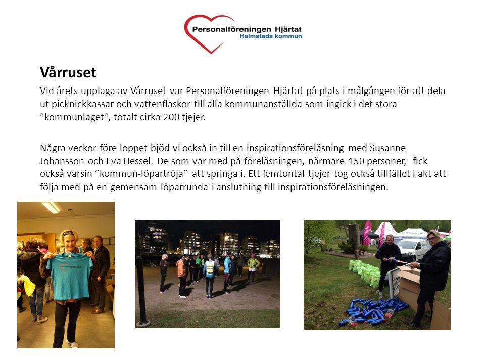 Vårruset Vid årets upplaga av Vårruset var Personalföreningen Hjärtat på plats i målgången för att dela ut picknickkassar och vattenflaskor till alla