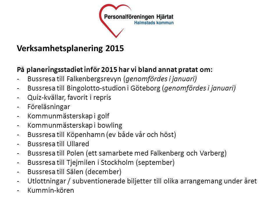 Verksamhetsplanering 2015 På planeringsstadiet inför 2015 har vi bland annat pratat om: -Bussresa till Falkenbergsrevyn (genomfördes i januari) -Bussr
