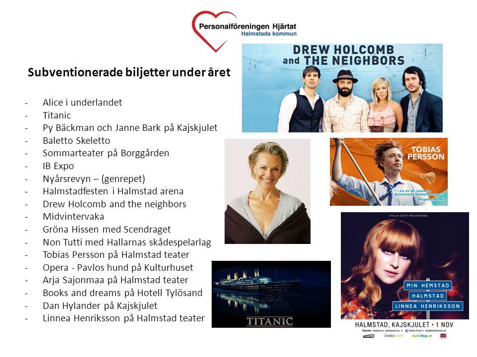 Subventionerade biljetter under året -Alice i underlandet -Titanic -Py Bäckman och Janne Bark på Kajskjulet -Baletto Skeletto -Sommarteater på Borggår