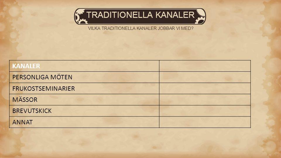 TRADITIONELLA KANALER VILKA TRADITIONELLA KANALER JOBBAR VI MED.