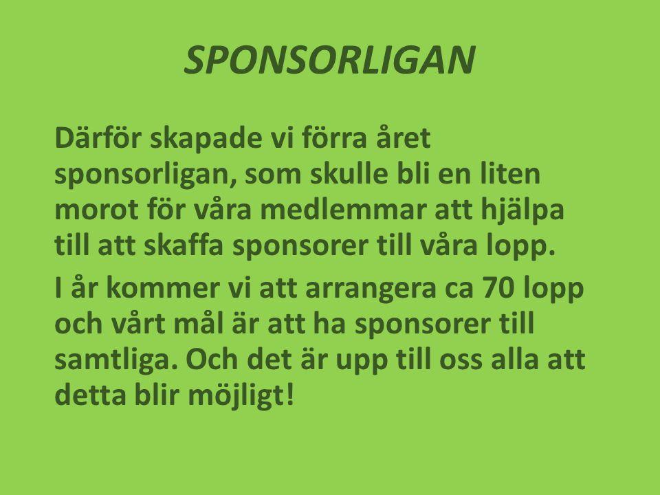 SPONSORLIGAN Därför skapade vi förra året sponsorligan, som skulle bli en liten morot för våra medlemmar att hjälpa till att skaffa sponsorer till våra lopp.