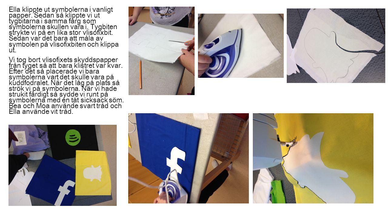 Ella klippte ut symbolerna i vanligt papper. Sedan så klippte vi ut tygbitarna i samma färg som symbolerna skullen vara i. Tygbiten strykte vi på en l