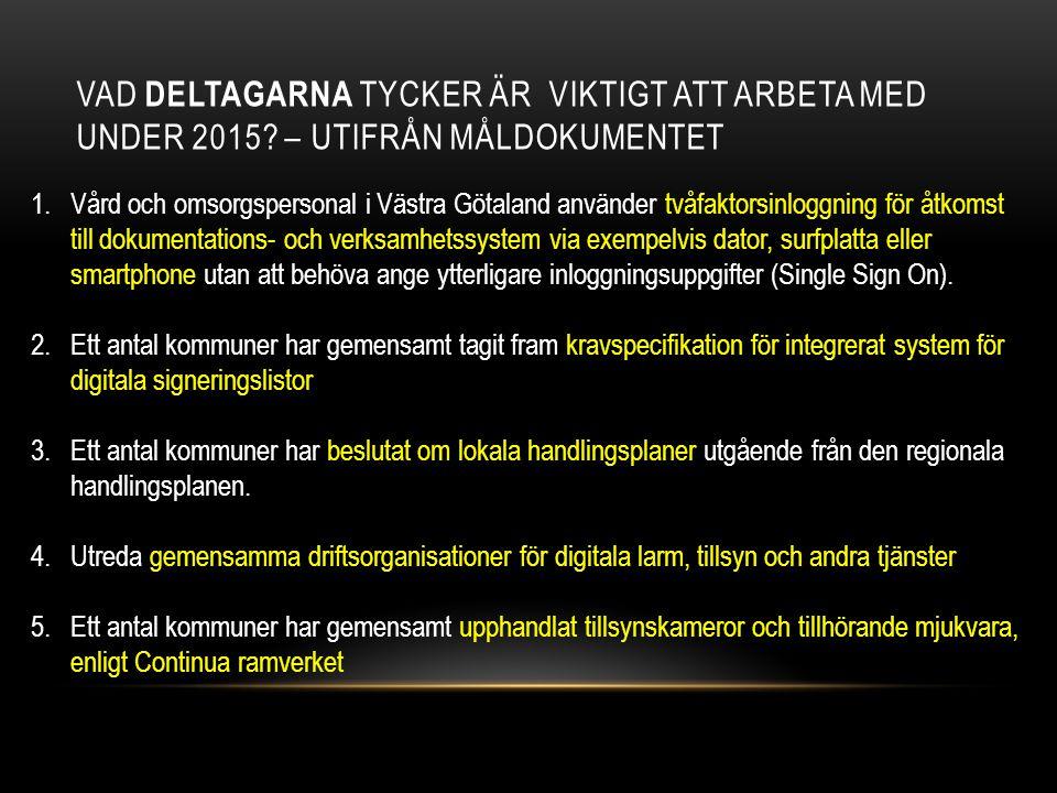 VAD DELTAGARNA TYCKER ÄR VIKTIGT ATT ARBETA MED UNDER 2015? – UTIFRÅN MÅLDOKUMENTET 1.Vård och omsorgspersonal i Västra Götaland använder tvåfaktorsin