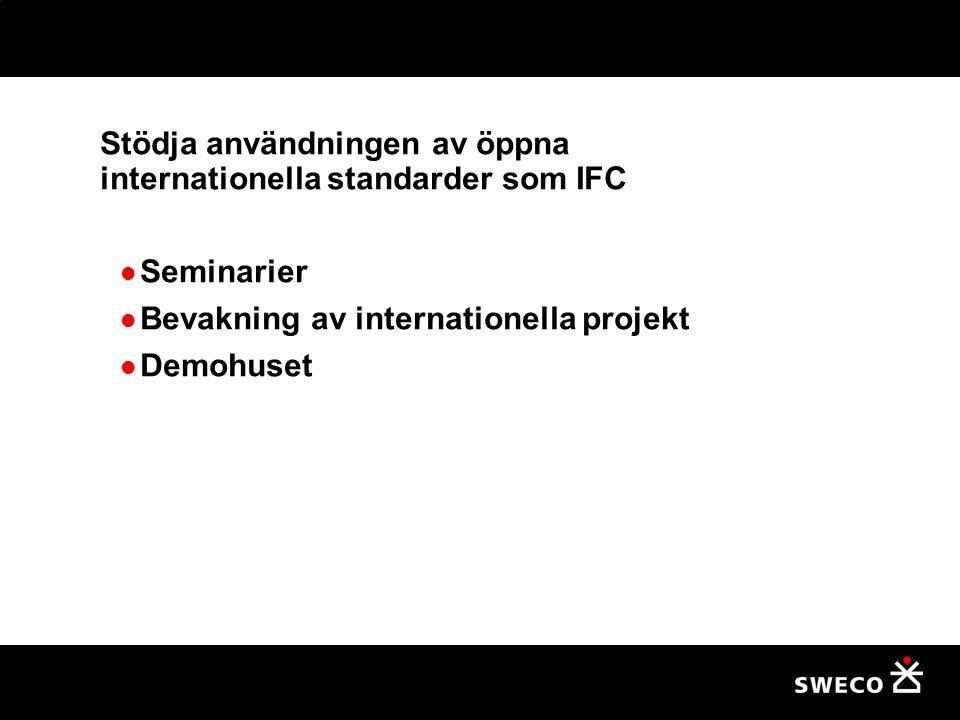 Stödja användningen av öppna internationella standarder som IFC Seminarier Bevakning av internationella projekt Demohuset