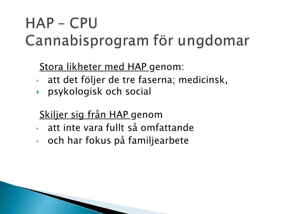 HAP är en logistisk struktur och en behandlingsmetod, som kan användas för att förstå den kognitiva dysfunktionen (prefrontal dysfunktion) som cannabi
