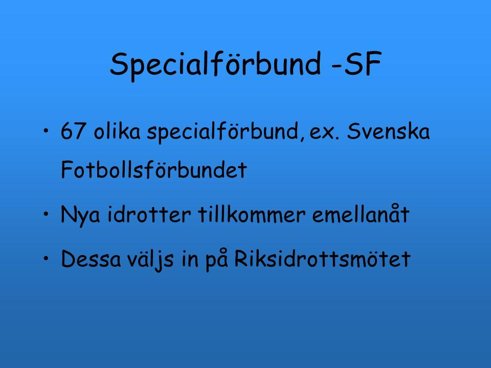 Specialförbund -SF 67 olika specialförbund, ex. Svenska Fotbollsförbundet Nya idrotter tillkommer emellanåt Dessa väljs in på Riksidrottsmötet