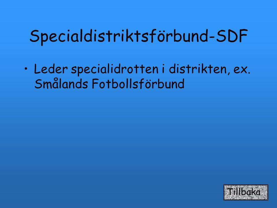 Specialdistriktsförbund-SDF Leder specialidrotten i distrikten, ex. Smålands Fotbollsförbund Tillbaka