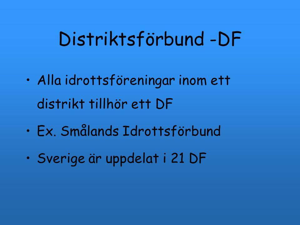 Distriktsförbund -DF Alla idrottsföreningar inom ett distrikt tillhör ett DF Ex. Smålands Idrottsförbund Sverige är uppdelat i 21 DF