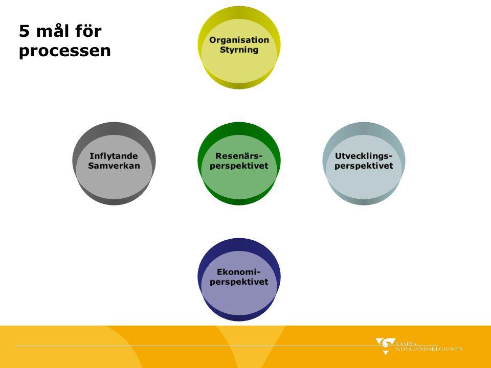 Resenärs- perspektivet Organisation Styrning Utvecklings- perspektivet Ekonomi- perspektivet Inflytande Samverkan 5 mål för processen