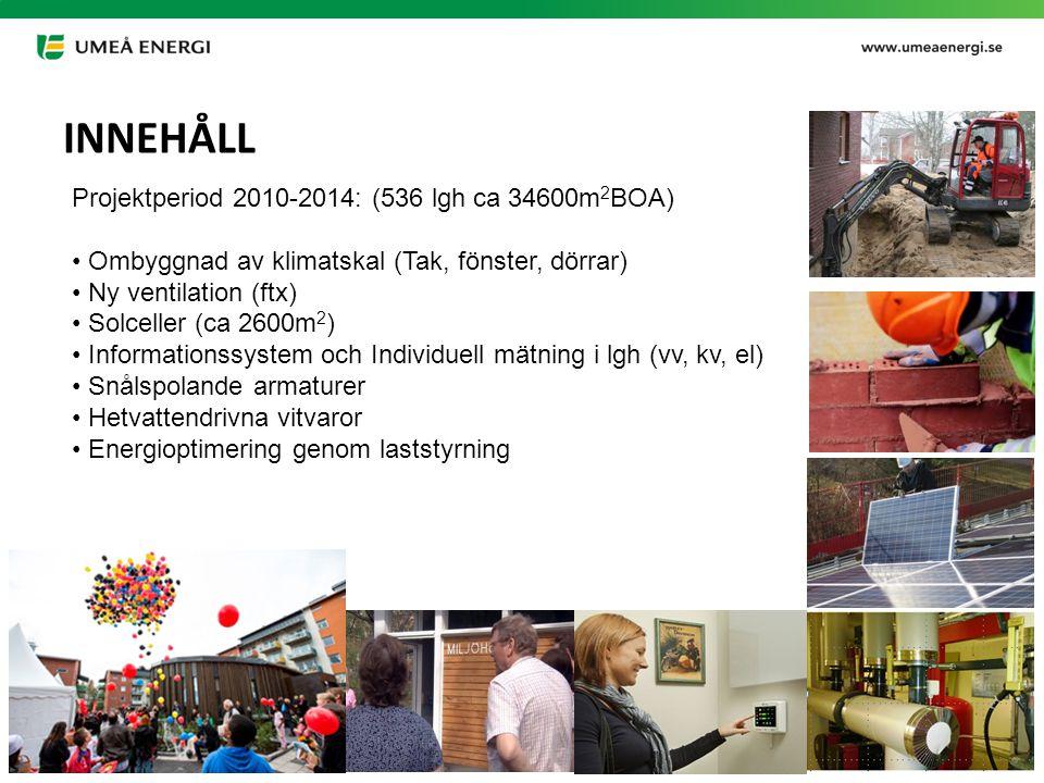 2015-03-21 Projektperiod 2010-2014: (536 lgh ca 34600m 2 BOA) Ombyggnad av klimatskal (Tak, fönster, dörrar) Ny ventilation (ftx) Solceller (ca 2600m