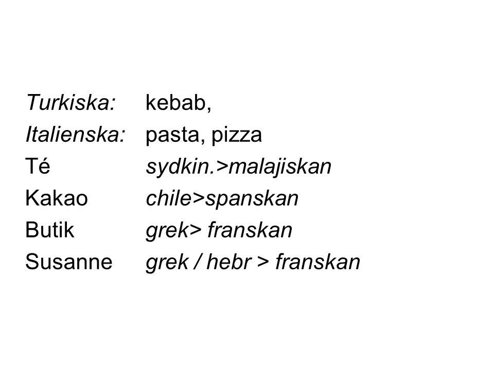 Turkiska:kebab, Italienska:pasta, pizza Tésydkin.>malajiskan Kakaochile>spanskan Butikgrek> franskan Susannegrek / hebr > franskan