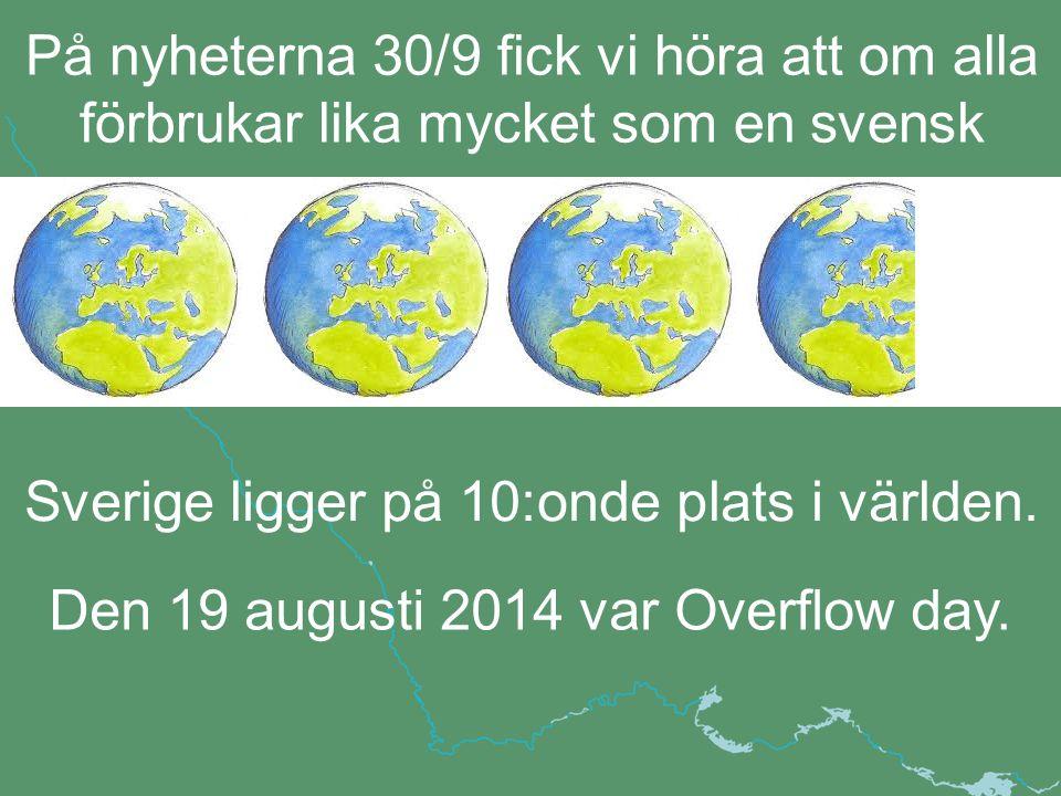 Den 19 augusti 2014 var Overflow day. Sverige ligger på 10:onde plats i världen.