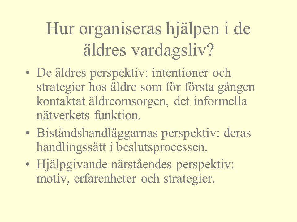 Hur organiseras hjälpen i de äldres vardagsliv? De äldres perspektiv: intentioner och strategier hos äldre som för första gången kontaktat äldreomsorg