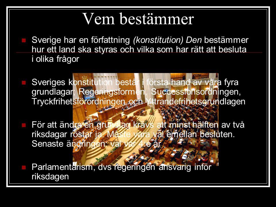 Vem bestämmer Sverige har en författning (konstitution) Den bestämmer hur ett land ska styras och vilka som har rätt att besluta i olika frågor Sveriges konstitution består i första hand av våra fyra grundlagar; Regeringsformen, Successionsordningen, Tryckfrihetsförordningen och Yttrandefrihetsgrundlagen För att ändra en grundlag krävs att minst hälften av två riksdagar röstar ja.