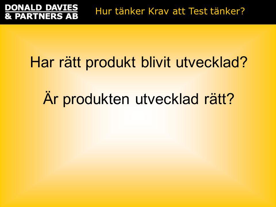 Har rätt produkt blivit utvecklad Är produkten utvecklad rätt Hur tänker Krav att Test tänker