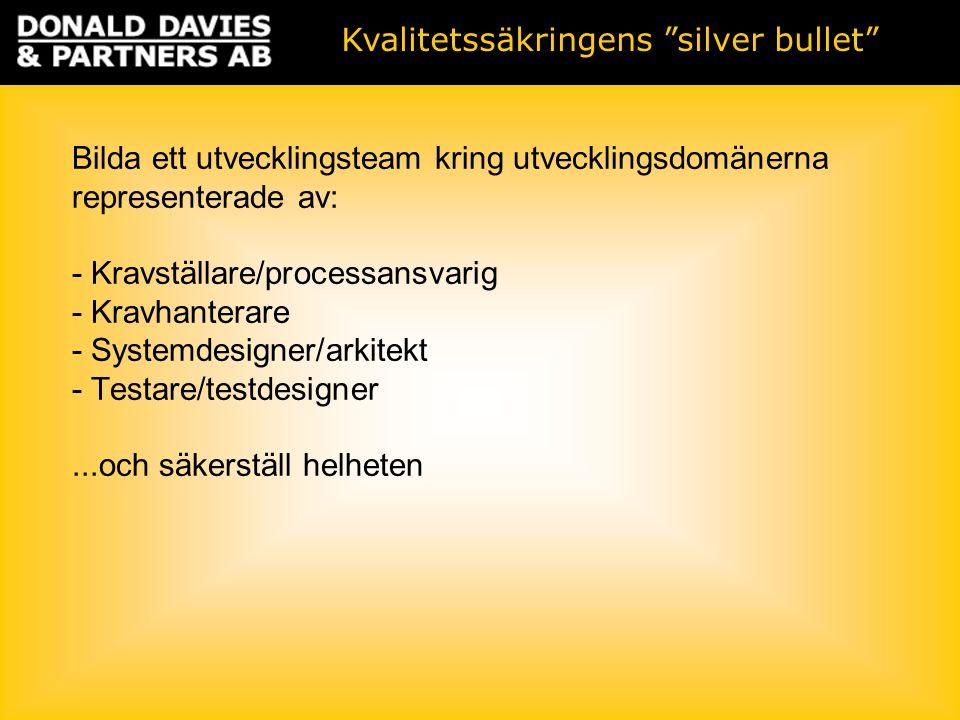 Kvalitetssäkringens silver bullet Bilda ett utvecklingsteam kring utvecklingsdomänerna representerade av: - Kravställare/processansvarig - Kravhanterare - Systemdesigner/arkitekt - Testare/testdesigner...och säkerställ helheten