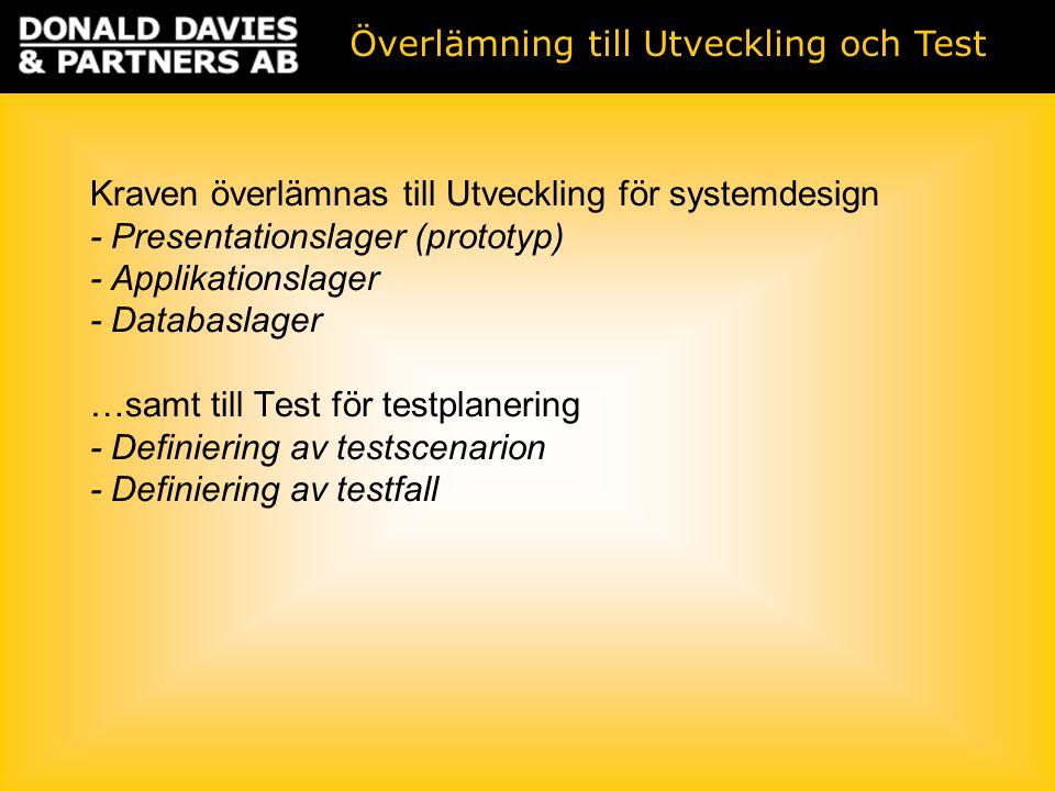 Kraven överlämnas till Utveckling för systemdesign - Presentationslager (prototyp) - Applikationslager - Databaslager …samt till Test för testplanering - Definiering av testscenarion - Definiering av testfall Överlämning till Utveckling och Test