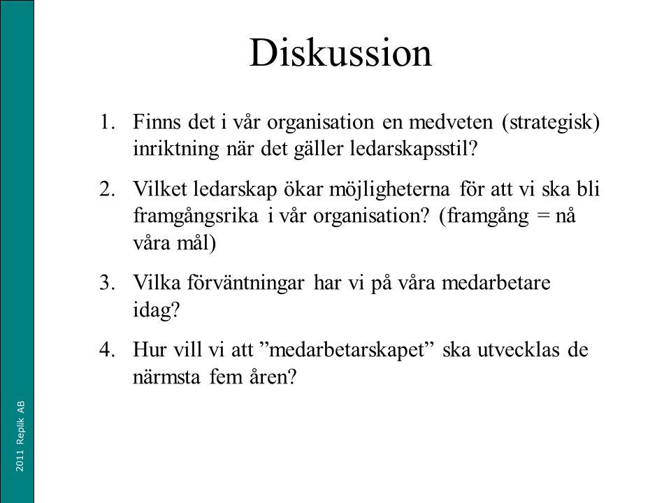 2011 Replik AB Diskussion 1.Finns det i vår organisation en medveten (strategisk) inriktning när det gäller ledarskapsstil.