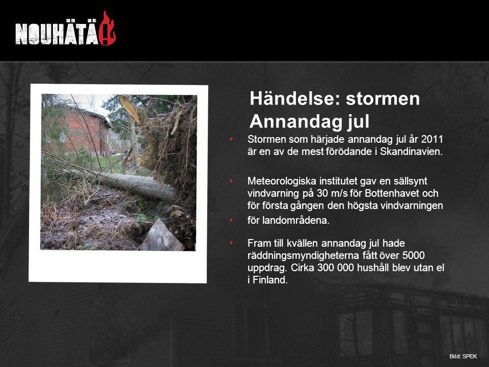 Händelse: stormen Annandag jul Stormen som härjade annandag jul år 2011 är en av de mest förödande i Skandinavien. Meteorologiska institutet gav en sä