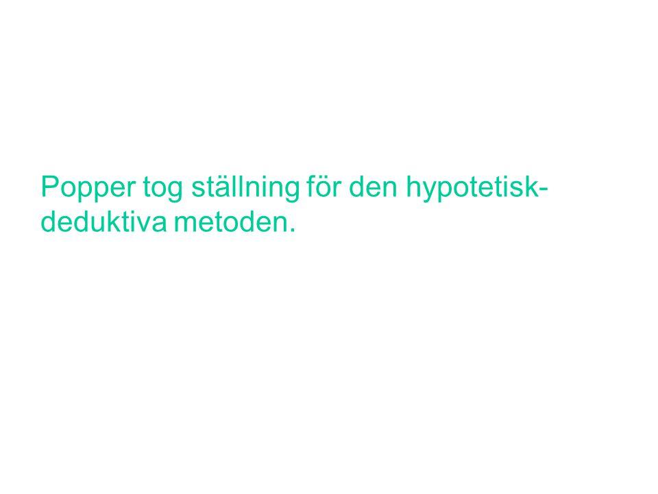Popper tog ställning för den hypotetisk- deduktiva metoden.