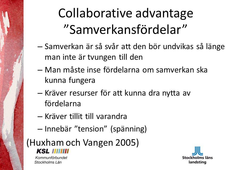 Collaborative advantage Samverkansfördelar – Samverkan är så svår att den bör undvikas så länge man inte är tvungen till den – Man måste inse fördelarna om samverkan ska kunna fungera – Kräver resurser för att kunna dra nytta av fördelarna – Kräver tillit till varandra – Innebär tension (spänning) (Huxham och Vangen 2005)