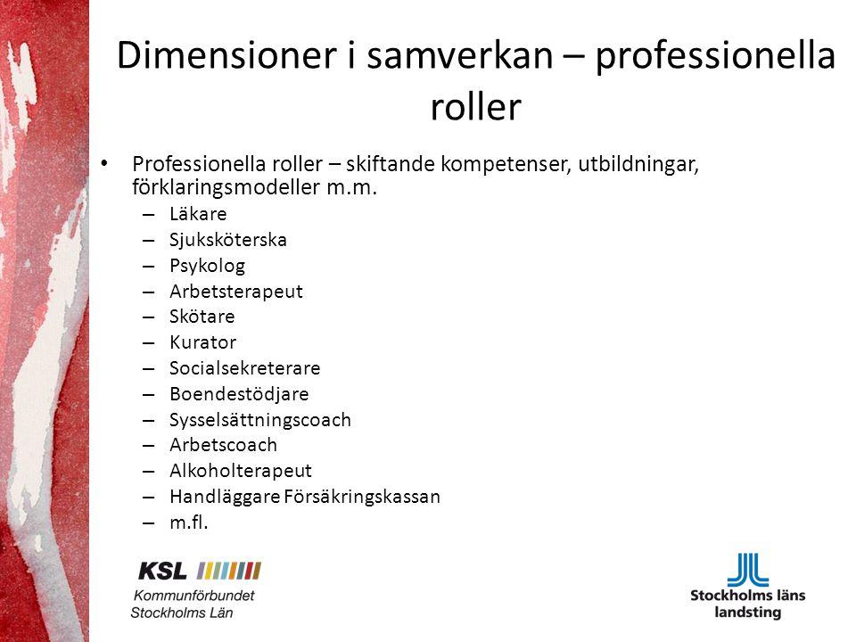 Dimensioner i samverkan – professionella roller Professionella roller – skiftande kompetenser, utbildningar, förklaringsmodeller m.m.